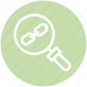 chain, find, glass, magnifier, magnifying glass, search, zoom