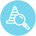 find, glass, magnifier, magnifying glass, road cone, search, zoom