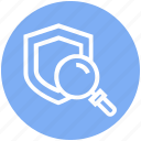 find, glass, magnifier, magnifying glass, search, shield, zoom