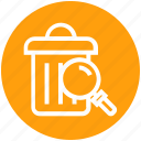dust bin, find, glass, magnifier, magnifying glass, search, zoom