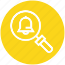 find, glass, magnifier, magnifying glass, notification bell, search, zoom