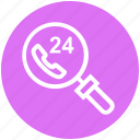 24 hours calling, find, glass, magnifier, magnifying glass, search, zoom