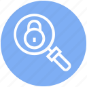 find, glass, locked, magnifier, magnifying glass, search, zoom