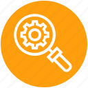 find, gear, glass, magnifier, magnifying glass, search, zoom