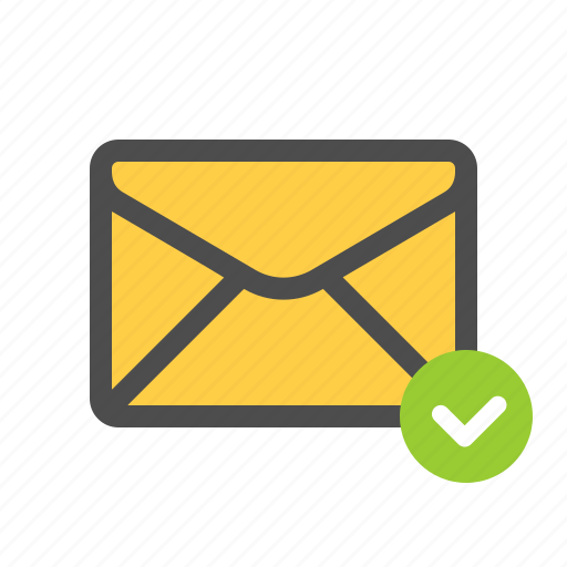 checked, email, mail icon