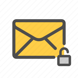 mail, unencrypted, unlocked icon