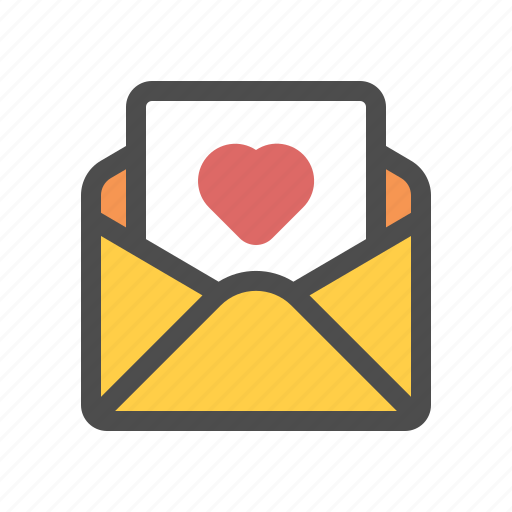 letter, love, mail, open icon