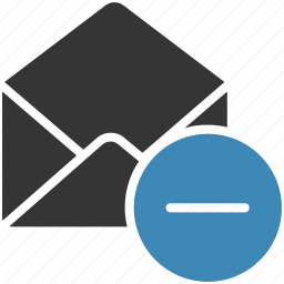 email, envelope, letter, mail, message icon, negative icon
