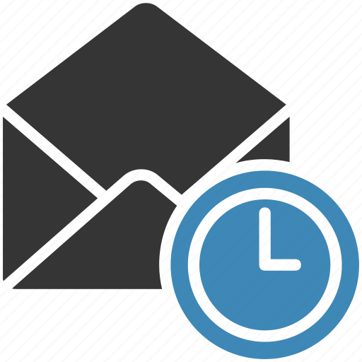 clock, email, envelope, letter, mail, message icon icon