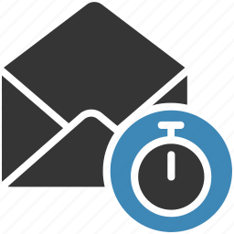 email, envelope, letter, mail, message icon, stopwatch icon