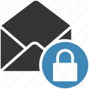email, envelope, letter, lock, mail, message icon icon