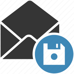 email, envelope, guardar, letter, mail, message icon, save icon
