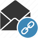 email, envelope, letter, link, mail, message icon icon