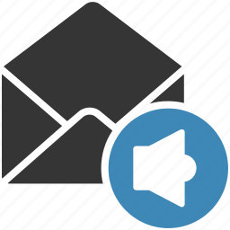 email, envelope, letter, mail, message icon, volume icon