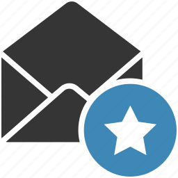 email, envelope, letter, mail, message icon, rating, star icon
