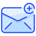 add, envelope, letter, mail, message, plus icon