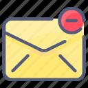 cancel, delete, envelope, letter, mail, message, minus