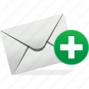 communication, email, envelope, logo, new, plus, send icon