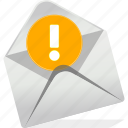 alert, communication, danger, email, envelope, logo, warning icon