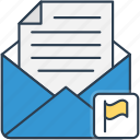 email, envelope, flag, mail, packet icon icon