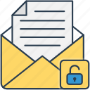 envelope, letter, lock, mail icon, open icon