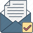 check, envelope, letter, mail icon icon