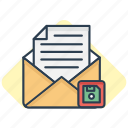 email, floppy, letter, mail, message, save, save as icon icon
