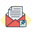 attach, email, envelope, mail, message, pin icon icon