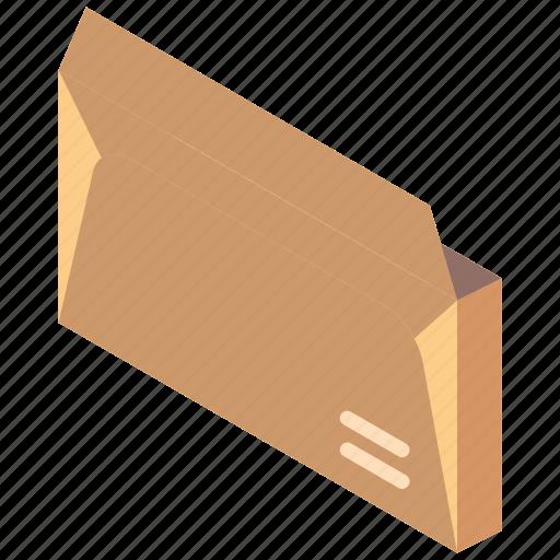 envelope, iso, isometric, mail, open, post icon