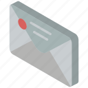 envelope, iso, isometric, mail, post, sealed icon