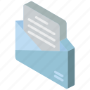 mail, isometric, iso, post, open
