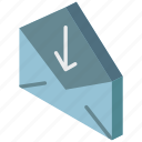 download, iso, isometric, mail, post icon
