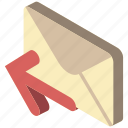 iso, isometric, mail, post, send icon