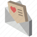 iso, isometric, letter, love, mail, post
