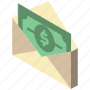 iso, isometric, mail, money, post, send icon