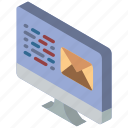 email, iso, isometric, mail, post