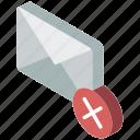 delete, iso, isometric, mail, post
