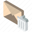 mail, isometric, trash, iso, post