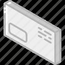 envelope, iso, isometric, mail, post, window