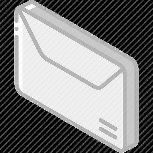 envelope, iso, isometric, mail, post icon