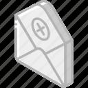 delete, iso, isometric, mail, post icon