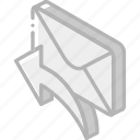 iso, isometric, mail, post, reply icon