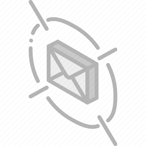 iso, isometric, mail, post, target icon