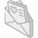 iso, isometric, letter, love, mail, post icon