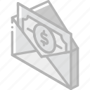 iso, isometric, mail, money, post, send