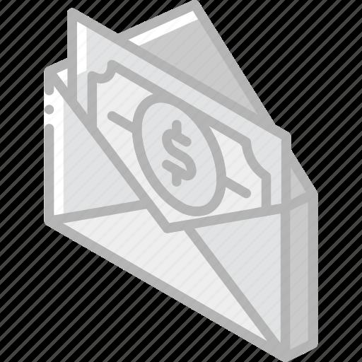 iso, isometric, mail, money, post, send icon