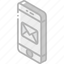 iso, isometric, mail, mobile, post icon