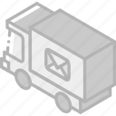 delvery, iso, isometric, mail, post, truck icon