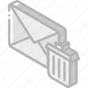 iso, isometric, mail, post, trash