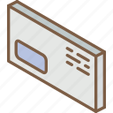 envelope, iso, isometric, mail, post, window